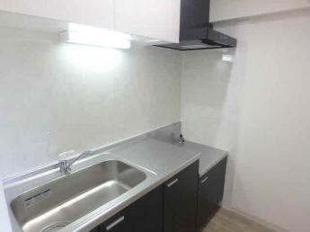 新品のキッチンで2口コンロ設置可能です。まな板スペースもあり料理が捗りますね