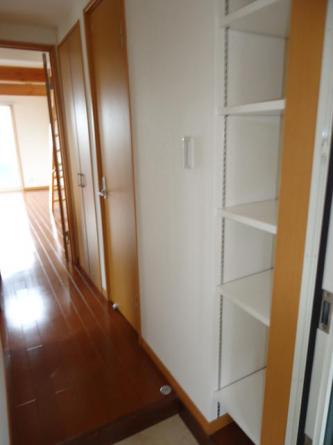 高さ調節が可能な棚付きの玄関です。靴を収納したり小物も置けます。
