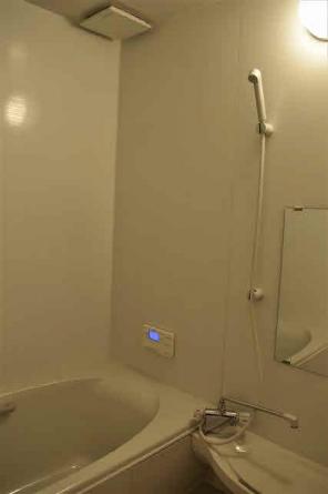 1坪タイプのバスルーム。追い焚き付き