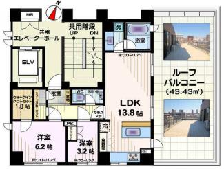 2LDK+WIC+ウォークインシューズクローク+トランクルーム(無料)※43.4平米ルーフバルコニー