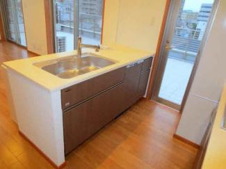 流し台キッチン収納 食器洗浄乾燥機付 カウンタータイプを採用。バルコニーからの眺望で時を感じられます