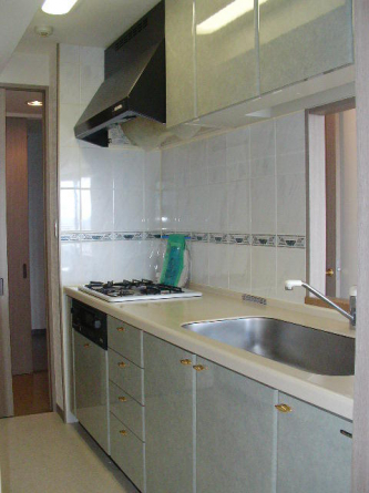 お掃除楽なフラットな調理台・ビルトイン型の浄水器も付いております
